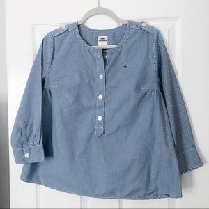 Navy and White Gingham Lacoste Button Blouse